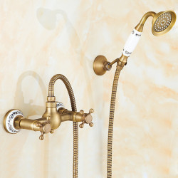 Shower Faucet Set - Handshower Included pullout Waterfall Vintage Style,Country Antique Brass Mount Outside Ceramic Valve Bath...