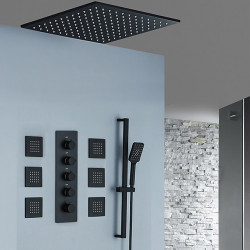 Shower Faucet,Rainfall Shower Head System,Body Jet Massage Set - Handshower Included Fixed Mount Rainfall Shower Contemporary...