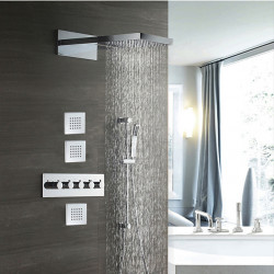 Chrome Shower Faucets Sets Complete with Solid Brass Shower Head and Handshower with Height Adjustable Pole Ceiling Mounted...