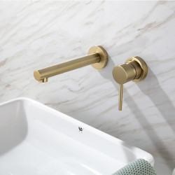 Bathroom Sink Faucet - Widespread Brushed Gold Wall Mounted Single Handle Two Holes Bath Faucet