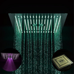 16 Inch Chrome,LED Color Temperature Adjustable Rain Shower Complete with Stainless Steel Shower Head Ceiling Mounted...