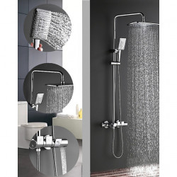 290*190 Chrome Shower Faucets Sets Electroplated,Ceramic Valve Mount Outside Rainfall Shower Head System