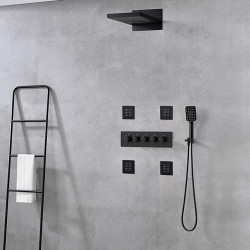 Shower Faucet,Rainfall Shower Head System Set - Handshower Included Fixed Mount Rainfall Shower Contemporary Painted Finishes...