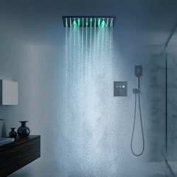 16 Inch Black Shower Faucets Sets Complete with Spray Rainfall Shower Head Ceiling Mounted LED Shower Head System(Contain...
