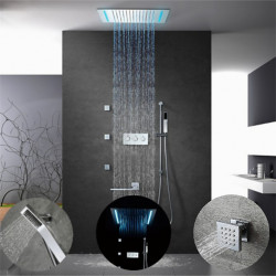 500*360 Chrome,16-Color LED Shower Faucets Sets Complete with Solid Brass Handshower, Ceiling Mounted Rainfall Shower Head,...