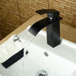 Matte Black Modern Style Oil-rubbed Bronze Single Handle Single Hole Hot and Cold Water Bathroom Sink Faucet
