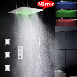 Shower Faucet Set - Handshower Included Thermostatic LED Contemporary Chrome Ceiling Mounted Brass Valve Bath Shower Mixer Faucet