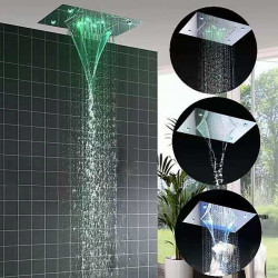 500*360 Chrome,3- Color LED Bathroom Faucets Rain Mixer Complete with Stainless Steel Rainfall Shower Head Ceiling Mounted...