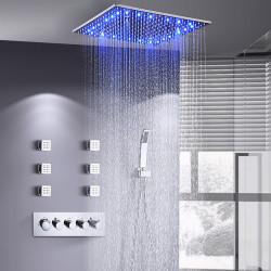 16 Inch Shower Faucets Sets Complete with Spray Rainfall Shower Head Ceiling Mounted LED 6 Body Jet Message Shower Head...
