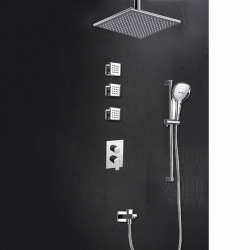 300*300 Chrome Shower Faucets Sets Complete with Solid Brass Handshower, Ceiling Mounted Rainfall Shower Head, Nozzle and 3...
