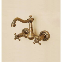 Bathroom Sink Faucet - Widespread Antique Copper Wall Mounted Two Holes,Two Handles Three Holes Bath Faucet