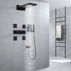 Shower Faucet,Rainfall Shower Head System,4 Body Jet Massage Sets - Handshower Included Fixed Mount Rainfall Shower...