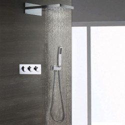 Contemporary Wall Mounted Rain Shower Handshower Included Ceramic Valve Three Handles Three Holes Shower Faucet
