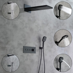 shower faucet,rainfall shower head system,thermostatic mixer valve set - handshower included fixed mount rainfall shower...
