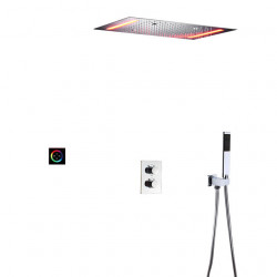 Thermostatic Shower Faucet Set - Handshower Included LED Rain Shower Contemporary Painted Finishes Wall Mounted Ceramic Valve...