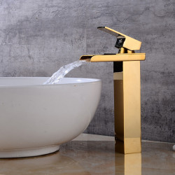 Bathroom Sink Faucet - Waterfall Gold Centerset Single Handle One HoleBath Faucet