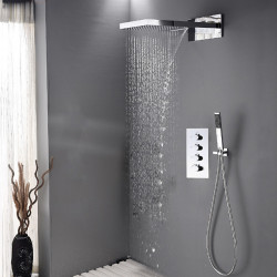 Bathroom Contemporary Shower Mixer Combo Set Wall Mounted Waterfall Shower Head System Polished Chrome Adjustable Cold and Hot...