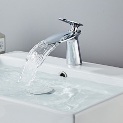 Bathroom Sink Faucet - Waterfall Chrome,Electroplated Centerset Single Handle One HoleBath Faucet