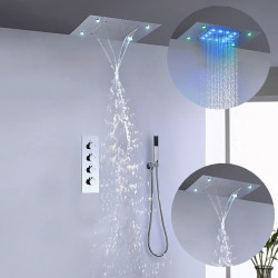 500*360 Chrome,LED Shower Faucet Sets Complete with Stainless Steel Shower Head and Handshower Ceiling Mounted Water...