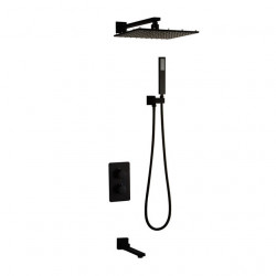Shower Faucet Set - Rainfall Contemporary Painted Finishes Wall Mounted Ceramic Valve Bath Shower Mixer Faucet,Brass,Two...