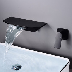 Bathroom Sink Faucet - Wall Mount,Waterfall Electroplated Mount Inside Single Handle One HoleBath Faucet
