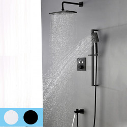 Shower Faucet Set - Handshower Included Waterfall Contemporary Chrome,Painted Finishes Mount Inside Ceramic Valve Bath Shower...