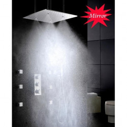 Shower Faucet Set - Handshower Included Thermostatic Rain Shower Contemporary Chrome Ceiling Mounted Brass Valve Bath Shower...