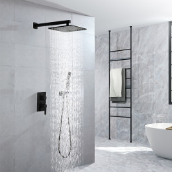 16 Inch Black Shower Faucets Sets Complete with Rainfall Shower Head Ceiling Mounted Shower Head System(Contain Shower Faucet...
