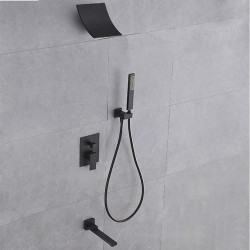Shower Faucet - Contemporary Painted Finishes Wall Installation Brass Valve Bath Shower Mixer Faucet,Single Handle Four Holes