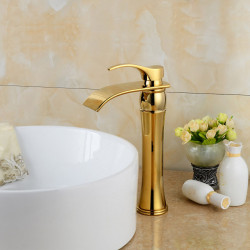 Widespread Waterfall Bathroom Sink Faucet Ti-PVD Widespread One Hole,Single Handle One HoleBath Faucet