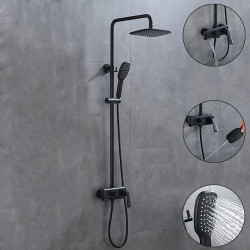 Shower System,Rainfall Shower Head System Set - Handshower Included Rainfall Shower Contemporary Painted Finishes Mount Outside...