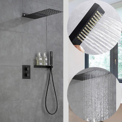 550*230 Matte Black Shower Faucets Sets Complete with Solid Brass Shower Head and Handshower Ceiling Mounted Included Rainfall...