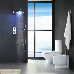 Shower Faucet Set - Handshower Included Thermostatic LED Contemporary Chrome Wall Mounted Brass Valve Bath Shower Mixer Faucet