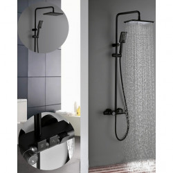 290*190 Matte Black Shower Faucets Sets Complete with Painted Finishes,Ceramic Valve Mount Outside Rainfall Shower Head System