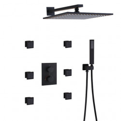 Thermostatic Bathroom Shower Faucet Set,Wall Mounted Square Rain Shower Head,Hand Shower Included,Two Handles Bath Mixer...