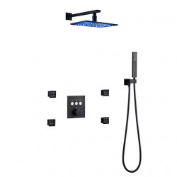 Thermostatic Shower Faucet Set - Handshower Included LED Rainfall Contemporary Painted Finishes Wall Mounted Ceramic Valve Bath...