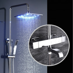 Shower Faucet - Contemporary Chrome Wall Mounted Brass Valve Bath Shower Mixer Faucet,Single Handle Three Holes