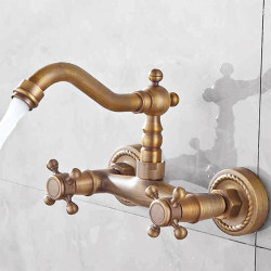 Sink Faucets - Antique,Art Deco,Retro,Traditional Antique Brass Wall Mount Two Holes