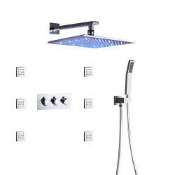 Bath Shower Faucet Set,Wall Mounted Square LED Shower Head,Hand Shower Included,Hot And Cold Bath Mixer Valve,Massage Body...