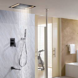 Shower Faucet Set - Rain Shower Contemporary Painted Finishes Wall Mounted Ceramic Valve Bath Shower Mixer Faucet,Brass