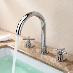 Two Handles Bathroom Faucet, Chrome Three Holes Widerspread, Brass Contemporary Bathroom Sink Faucet with Supply Lines