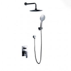 Shower Faucet Set - Handshower Included Chrome Wall Mounted Ceramic Valve Bath Shower Mixer Faucet,Brass,Single Handle One Hole