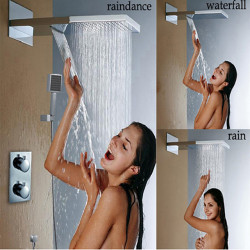 Contemporary Wall Mounted Rain Shower Handshower Included Thermostatic Brass Valve Two Handles Three Holes Chrome,Shower Faucet