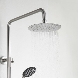 Shower System Set - Rainfall Contemporary Nickel Brushed Shower System Ceramic Valve Bath Shower Mixer Faucet,Stainless...