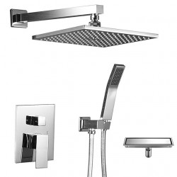 12 Inch Ceiling Mounted Shower Head System Rain Mixer Rainfall Shower Systerm With Drain Polished Chrome Shower Faucet Rough-in...