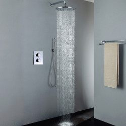 Shower Faucet - Contemporary Chrome Wall Mounted Ceramic Valve,Brass,Two Handles Three Holes