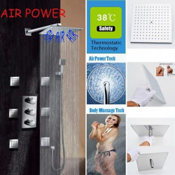 Shower Faucet Set - Handshower Included Thermostatic Rain Shower Contemporary Chrome Wall Mounted Brass Valve Bath Shower Mixer...