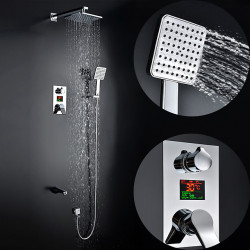 200*200 Chrome Shower Faucet Sets Complete with Wideapread Handshower Nozzle Temperature Shower Time Screen, Wall Mounted Spray...