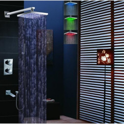 Shower Faucet Set - Handshower Included Thermostatic LED Contemporary Chrome Wall Mounted Brass Valve Bath Shower Mixer...