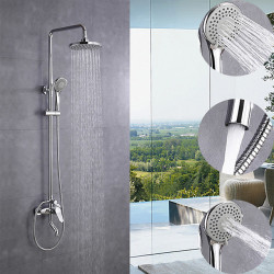 200 * 200 Chrome Shower Faucet Sets Complete with ABS Handshower Mount Outside Multi Spray Shower Head System